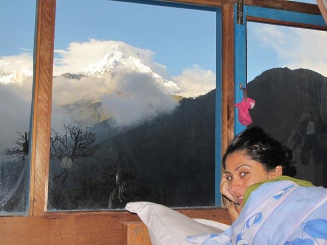 Ghorepani - Odamızın camından muhteşem Himalaya manzaraları...