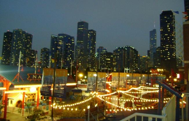 Navy Pier'den Chicago Manzarası