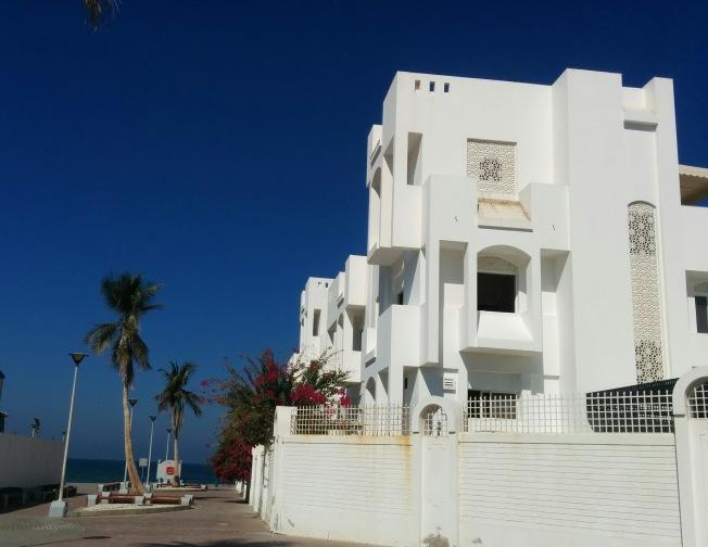 Dantel gibi işlenmiş beyaz badanalı evler